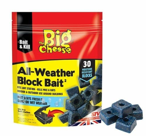 Rat Poison Block All Weather Big Cheese Mouse Rodent Bait Killer - 30 Blocks